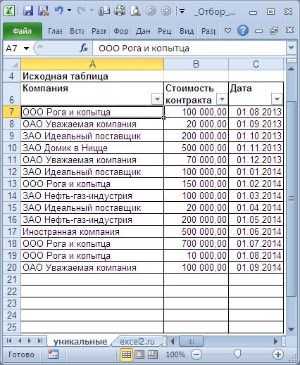 Отбор уникальных значений убираем повторы из списка в MS EXCEL