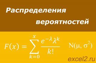 Распределения вероятностей в Excel