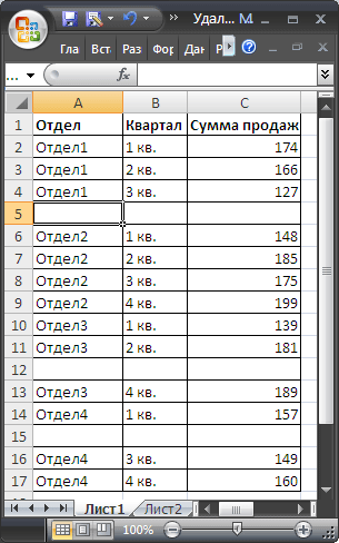 значений строки пустые в таблице удалить